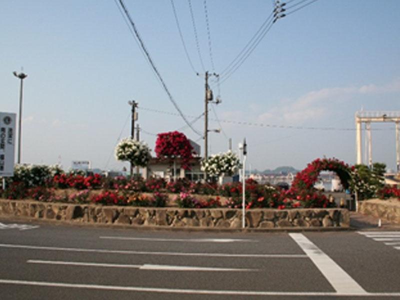 新涯学区内ばら花壇